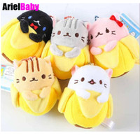 Wholesale Banana Keychain - New 5pcs Kawaii Bananya Banana Cat Plush Toy Soft Stuffed Animal Doll 9cm Keychain Anime Baby Dolls Peluche Brinquedos Kids Gift