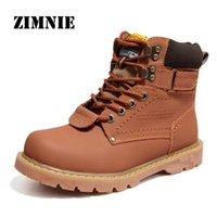 Wholesale fur snow footwear - Wholesale- ZIMNIE 2016 Men's Winter Snow Boots Genuine Leather Boots With Fur Shoes Quality Men Autumn Footwear Work Shoes Plus Size 38-46