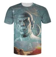 Wholesale Galaxy Stars Shirt - 2017 Summer Style Tops Live Long and Prosper T-Shirt Star Trek Spock Galaxy Tee Sexy T Shirt for Women Men Plus Size