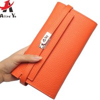 Wholesale Passport Holder Blue - Wholesale- Atrra-Yo! women wallets long genuine leather purse luxury dollar price female wallet casual carteira feminina card bags LS8815ay