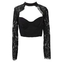 tığ işi bluz giyim toptan satış-Kadın Giyim Yaz Zarif Siyah Beyaz Dantel Tığ Kırpma Üst Kız Uzun Kollu Siyah kadın Bluz Lingerie Hollow Gömlek Üst