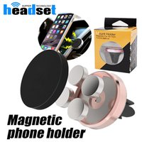 Wholesale Iphone Metal Holder - 2017 Universal Metal Air Vent Magnetic Mobile Phone Holder For iPhone Samsung Magnet Aluminum Silicone Mount Stand with package