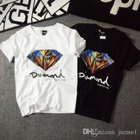 Wholesale Diamond Tshirts - New arrival quality brand shirt 3D Diamond men short sleeve t shirt skateboard fashion brand clothing hip hop tshirts for men