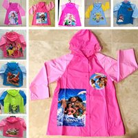 Wholesale Princess Kids Raincoats - 29Styles Moana Princess Raincoat Children Kids Rain Gear Rainsuit Waterproof Cartoon Raincoat Christmas Accessories Gifts HH-C34