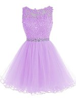 Короткие платья Homecoming Tulle Backless Appliques Beads Prom Party Gown Линия Mini Party Short Cocktail Plus Размер Пром платья