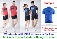 Wholesale table tennis shirts - Wholesale EMS for free, Text printing for free, new badminton shirt clothes table tennis T sport shirt clothes 1024