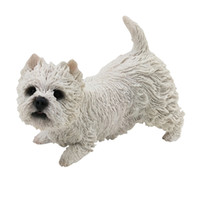 Wholesale Glossy White Car - West Highland White Terrier Dog Figurine resin dog animal statue handmade figurines decoration for car toy