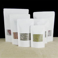 ingrosso sacchetti di sostegno della chiusura lampo kraft-Nuovo sacchetto di carta bianco Kraft con finestra Stand Up Pouch con cerniera Sacchetto di imballaggio per tè alla frutta secca con cerniera LZ0164