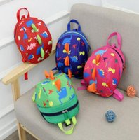 Wholesale Kids Harness Backpack - Kid Anti-lost Backpack Dinosaur Backpack Baby Walking Safety Harness Reins Toddler Cartoon Backpack Anti Lost School Bag KKA2802