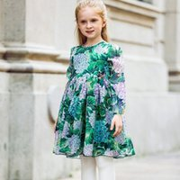 Spring / Autumn spring flower handmade - Gilr Dress Robe Fille Mariage Ortensia Flower with Handmade Butterfly Summer Dress Children Clothing Costume for Kids Clothing