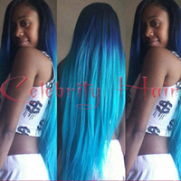 hochhitzebeständige synthetische perücken großhandel-Silky Straight Synthetic Lace Front Perücke 150% High Density Glueless Ombre Tone Farbe blau Hitzebeständige Haar Perücke / FREE SHIPPING