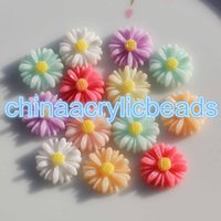 Wholesale Sunflowers Resin Cabochons - 100Pcs Set 13MM Flatback Resin Sunflower Beads Rounded Daisy Resin Flower Cabochons Findings DIY Accessory