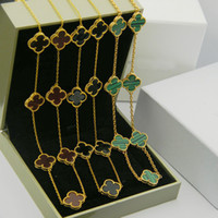 тонкие ожерелья оптовых-316L титана стали позолоченные белый агат черный оникс цветок любви ожерелье золото натуральный красный агат ювелирные изделия для женщин