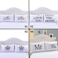 Wholesale Fancy Patterns - 4 Style Fancy Pattern Mr Mrs White Couples Pillowcase Superior Polycotton Digital Printing Pillow Case For Wedding Valentine's Gift