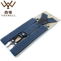 Wholesale Pants Braces Strap - Wholesale- YOUWELL 4 Clips Mens Suspender Men Braces Supports Suspenders For Women Strap Elastic Adjustable Pants Suspenders Mens Clothing