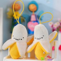 Wholesale Banana Key Chains - Wholesale- Cute Banana Plush Toy Christmas Birthday Gift Baby Gift Key Chain Soft Stuffed Fuzz Banana Fruit Doll ML0197