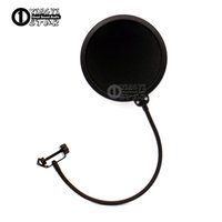 Wholesale boom phones - Double Layer Condenser Microphone Pop Filter Mask Shied Gooseneck Windscreen For Boom Mic Stand Computer Video Recording Studio Wind Screen