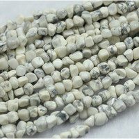 "Wholesale Nugget Jewelry - Wholesale Natural Genuine Howlite Lace White Turquoise D Small Nugget Free Form Fillet Irregular Pebble Beads Fit Jewelry 15"" 03973"