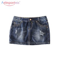Wholesale Women Mini Jeans Skirt - Wholesale- Special Offer Aelegantmis Classic Ripped Hole Denim Skirt Women 2017 Casual Summer Hot Mini Skirt Sexy Jeans Ladies