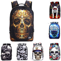 Wholesale Cartoon Boy Girl Hard - 3D skull cartoon embossing boys and girls school students bag backpacks men sport travel bags Rucksacks