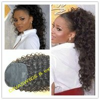 Wholesale drawstring ponytails resale online - Ciara long high Natural brown curly Pony tail hairpiece Clip in Brazilian hair Drawstring Ponytail hair extension g
