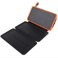 Wholesale solar charging battery bank online – Waterproof solar power bank mah High efficiency folding solar panel universal battery charger with LED Camping lamp for charging