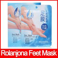 máscara de pés rolanjona venda por atacado-ROLANJONA alta qualidade pés máscara de Leite e Vinagre De Bambu Peeling Pés Máscara Remover a pele morta Reduzir o odor frete grátis