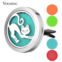 Wholesale Cat Locket - Car Air Freshener jewelry locket clip Stainless Steel Pendant Magnetic Cat design without Oil Pads VA-362