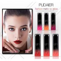 Wholesale Sexy Red Lipstick - 2017 brand PUDAIER 21 Colors matte Lip Gloss Cosmetics Long Lasting Metallic Sexy Red Lip Tint Velvet Matte Nude Liquid Lipstick