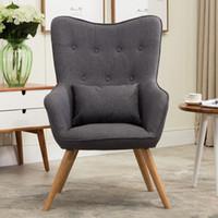 Mitte Des Jahrhunderts Modernen Stil Sessel Sofa Stuhl Beine Holz  Leinenpolster Wohnzimmer Möbel Bedoorm Sessel Akzent Stuhl