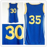 Wholesale Breathable Dress Shirt - Top Women 2017 Finals Champions 30 Stephen Curry Basketball Dress Skirt Jerseys Blue 35 Kevin Durant Lady Girls Sexy Dresses Sport Shirt