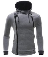 Wholesale Wholesale Sweatshirts Zip - Wholesale-XQS Mens Slim Irregular Full-Zip Hooded Sweatshirt Jacket