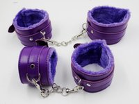 Wholesale Leather Cuffs Bondage Purple - 2 Set Lot Purple Pu Leather Handcuffs + Ankel Cuffs Sex Products Erotic Toys For Sex Couple,Sex Game Bondage Cuffs Sex Toys