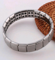 Wholesale Titanium Germanium Silver - Titanium Stainless Steel Bangle Bracelet for Men Magnet Health Care Germanium Bracelet Hand Chain Best Price Wholesale
