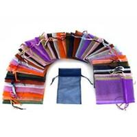 pacote aleatório venda por atacado-500 partes 9 x 12 cm Organza Sacos do presente de casamento Bolsas jóias sacos, embalagem de 100 cor aleatória 5Pack / Lot