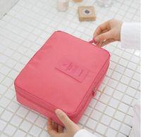 Wholesale Trunk Organizers - New Korean elegant large capacity Barrel Shaped Nylon Wash Organizer Storage Travel Dresser Pouch Cosmetic Makeup Bag For Women