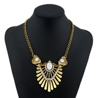 Vintage Palace Necklace Gold Plated Fashion Broca Declaração Simple Gem Maxi Big Behomian Geometry Ethnic Pendant Necklace Mulheres Ethnic Style