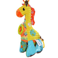 Wholesale Doll Stroller Toys - Wholesale- musical soft Baby toys giraffe cartoon animal Infant todder Kid christmas gift stuffed plush bed cradle strollers hanging doll