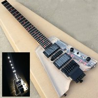 Wholesale Travel Guitar Free Shipping - Free shipping Special Wholesale New portable Travel Electric Guitar Steinberg Crystal Headless electric guitar with LED lamp