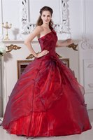 Wholesale Quinceanera Flowers - 2017 Sexy One-Shoulder Flowers Ball Gown Quinceanera Dresses with Sequin Organza Plus Size Sweet 16 Dress Vestido Debutante Gowns BQ69