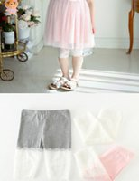 Wholesale Jacquard Lace Dress - kids leggings Summer Girls Lace Patched Cotton Legging children lace jacquard Princess Cropped Trousers Dress girls half tights A0726