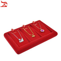 Wholesale Small Earring Case - New Arrival Small Cute Removable 3 Slot Red Velvet Jewelry Display Showcase Earring Oranizer Case Pendant Display Holder Tray Free Shipping