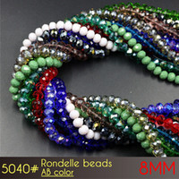Wholesale Colorfull Jewelry - DIY Jewelry Making Crystal Glass Clear Shine Clear Colorfull Rondelle Beads 8mm ABcolors A5040 72pcs set