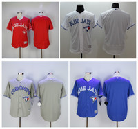 Wholesale Order Football Jerseys Cheap - 2017 Cheap Toronto Blue Jays Baseball Jerseys Men`s Blank no name no number White Grey Blue Red Embroidery Logo Football Jerseys Mix Order !