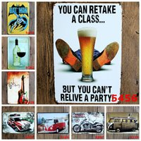 painting classes - Vintage cm Tin Poster Beer Motorcycle Car Guitar Iron Painting You Can Retake A Class Metal Tin Signs Wine Cellar Crafts rjQ