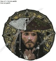 "Wholesale Pirate Costume Jack Sparrow - 4"" Pirates Caribbean Patches for clothing Johnny Depp Captain Jack Sparrow 2017 TV Movie Series Cosplay badge Costume Supplies"