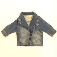 Wholesale Diagonal Zipper Jacket - New Baby Boy Jeans Jackets Diagonal Zipper Long Sleeve Button European Style Outwear Kids Clothes Infant Hoodie