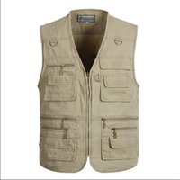 Wholesale Casual Loose Mens Vest - Wholesale- XL-5XL Male Casual Vests Men Cargo Vest Mens Multi Pocket Photographers Sleeveless Jacket Plus Size Summer Vests A803
