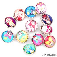 Wholesale Russian Dolls Buttons - New 12pcs High Quality 18mm Mixed Russian Dolls Glass Metal Snaps buttons DIY Snap Charms Jewelry Bracelet&Bangle