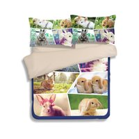 Kawayi Rabbit animal Kids Child Gilrs Juegos de sábanas Funda nórdica verde queen king twin size Sábanas ajustables sábanas ropa de cama